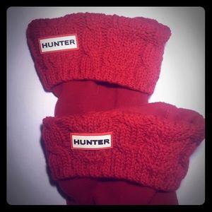Hunter Boot red knit fleece liners socks